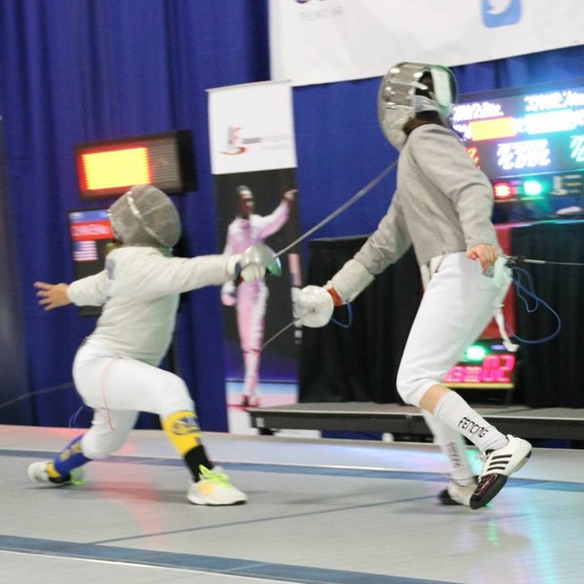 Erika (on the left) in her final bout.